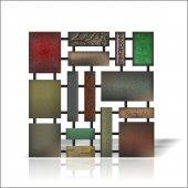Büyük Geometrik Kalın Renkli İşlemeli Desenli Duvar Tablos Panosu