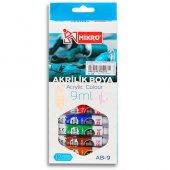 Mikro Ab-09 9 ml 12 Renk Su Bazlı Akrilik Boya Faber Castell Aynı