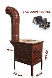 Mini Emaye Kuzine Odun Sobası---5 KG PRES ŞÖMİNE ODUNU HEDİYELİ---2