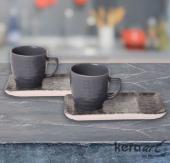 Keramika 4 Parça Doğaltaş Atıştırmalık Set Mat Ren-2
