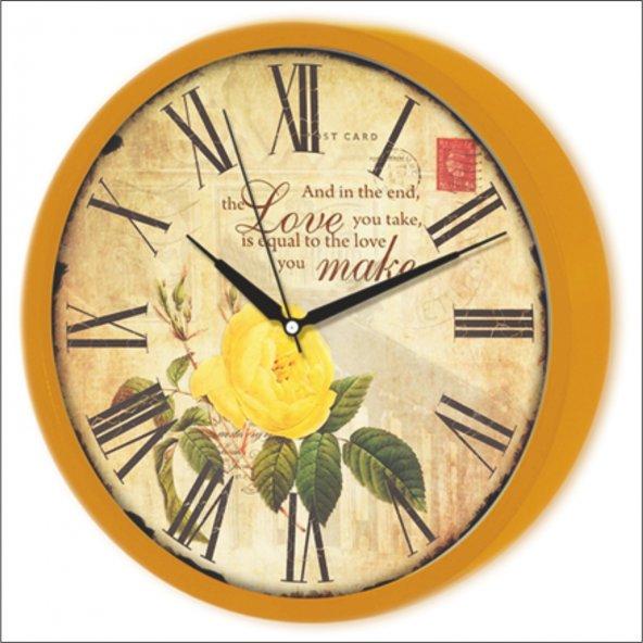 Turuncu Çerçeve Sarı Güllü Eskitme Tasarım Love Make Duvar Saati