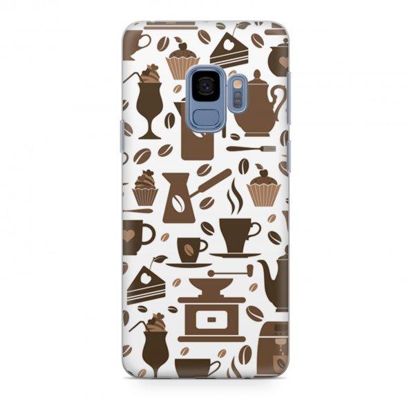 Samsung Galaxy S9 Kılıf Silikon Arka Koruma Kapak Kahve Sevdası