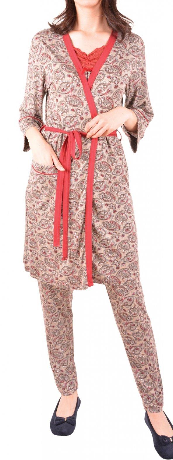 Kadın Pijama Takım Sabahlık Üçlü Takım
