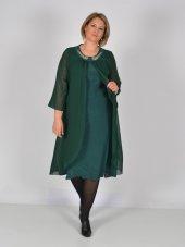 Nidya Moda Büyük Beden Üstü Şifon Taşlı Aksesuar Yeşil Abiye Elbise 4037y