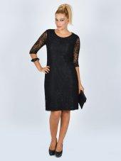 Nidya Moda Büyük Beden Siyah Abiye Dantel Elbise 4009ds