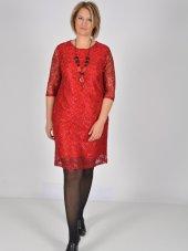 Nidya Moda Büyük Beden Kırmızı Dantel Abiye Elbise 4009bdk