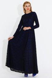 Nidya Moda Büyük Beden Dantel Kaplama Saks Tesettür Abiye Uzun Elbise 4051sx