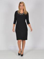 Nidya Moda Büyük Beden Boncuklu Yaka Siyah Abiye Elbise 4040s