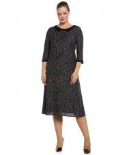 Nidya Moda Büyük Beden Yaka Manşet Siyah Kombin Desenli Gri Elbise 4070g
