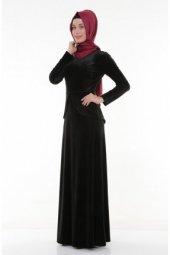 Nidya Moda Tesettür Kadife Peplum Siyah Abiye Elbise 4044s