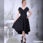 Kadın Siyah Asimetrik Klos Elbise