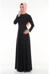 Nidya Moda Tesettür Yaka Kemer Deri Lacivert Abiye Elbise 4041l