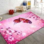 Kelebek Desenli Genç Çocuk Odası Halısı Pembe Renk İ K5 160x230