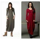 Kadın Uzun Kol Bordo Şalvar Elbise