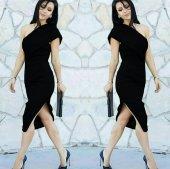 Kadın Siyah Tek Omuz Elbise