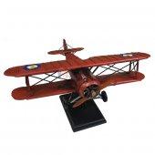 Nostaljik Çift Kanatlı Metal Uçak Maketi Büyük Boy Model Uçak-2