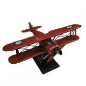 Nostaljik Çift Kanatlı Metal Uçak Maketi Büyük Boy Model Uçak-3