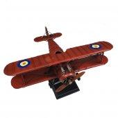 Nostaljik Çift Kanatlı Metal Uçak Maketi Büyük Boy Model Uçak-4