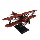 Nostaljik Çift Kanatlı Metal Uçak Maketi Büyük Boy Model Uçak-5