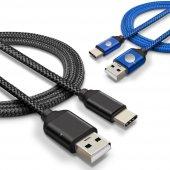 Sony Xperia Xz Premium Type C Hızlı Şarj Data Kablosu Premier Örgülü Kablo 1 Metre