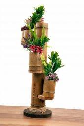 Doğal 3 Lü Bambu Saksılık Naturel Küçük Boy...