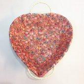 Hasır Kalp Ekmek Sepeti Turuncu