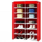 2 Bölmeli Metal Profilli Bez Dolap Ayakkabılık - Kırmızı