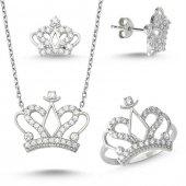 Kral Kraliçe Tacı Bayan Gümüş Kolye Küpe Ve...