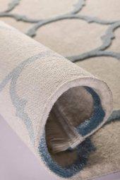 Su Damlası Desenli Vizon Mavi Oturma Odası Halısı - HS97057T-5