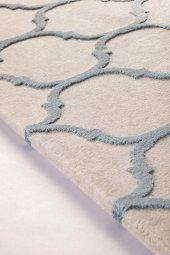 Su Damlası Desenli Vizon Mavi Oturma Odası Halısı - HS97057T-6
