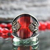 Kırmızı Zirkon Taşlı Osmanlı Armalı Gümüş Erkek Yüzük
