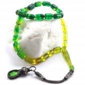 Yeşil Sarı Renk 1000 Ayar Gümüş Kazaz Püsküllü Ateş Kehribar Tespih