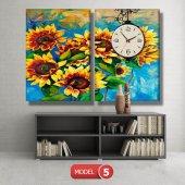 ayçiçeği-güne bakan çiçekler tablosu- saatli kanvas tablo MODEL 3 - 126x60 cm