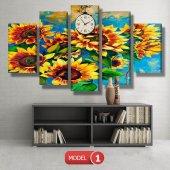 ayçiçeği-güne bakan çiçekler tablosu- saatli kanvas tablo MODEL 3 - 126x60 cm-2