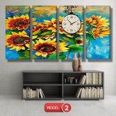 ayçiçeği-güne bakan çiçekler tablosu- saatli kanvas tablo MODEL 3 - 126x60 cm-3