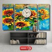 ayçiçeği-güne bakan çiçekler tablosu- saatli kanvas tablo MODEL 3 - 126x60 cm-4