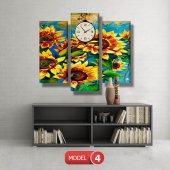 ayçiçeği-güne bakan çiçekler tablosu- saatli kanvas tablo MODEL 3 - 126x60 cm-5