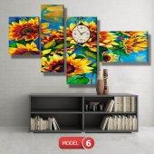 ayçiçeği-güne bakan çiçekler tablosu- saatli kanvas tablo MODEL 3 - 126x60 cm-6