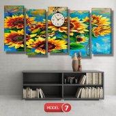 ayçiçeği-güne bakan çiçekler tablosu- saatli kanvas tablo MODEL 3 - 126x60 cm-7