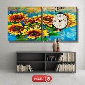 ayçiçeği-güne bakan çiçekler tablosu- saatli kanvas tablo MODEL 3 - 126x60 cm-8