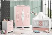 Ece Bebek Odası Takımı Uzun Sallanır Beşik 3lü Dolap Şifonyer