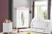 Masal Pembe Bebek Odası Takımı Uzun Sallanır Beşik Dolap Şifonyer