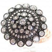 Rose Otantik Model Beş Sıra Taşlı 925 Ayar Bayan Gümüş Yüzük