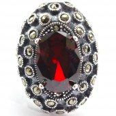 Osmanlı Otantik Model Kırmızı Zirkon Tek Taşlı Gümüş Bayan Yüzük