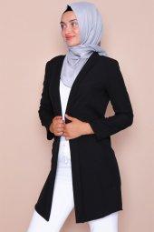 Pervazlı Uzun Siyah Ceket-2