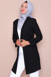 Pervazlı Uzun Siyah Ceket-3