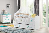 Masal Mavi Bebek Odası Takımı Uzun Sallanır Beşik Dolap Şifonyer