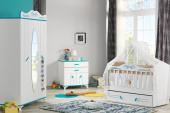 Masal Mavi Bebek Odası Takımı Kısa Sallanır Beşik Dolap Şifonyer