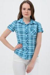 Kısa kol turkuaz kareli bayan gömlek 5325-2 -2