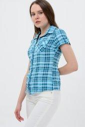 Kısa kol turkuaz kareli bayan gömlek 5325-2 -3